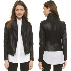 VINCE Black Leather Scuba Asymmetrical Jacket